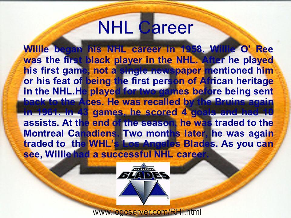 NHL Career Willie began his NHL career in 1958.
