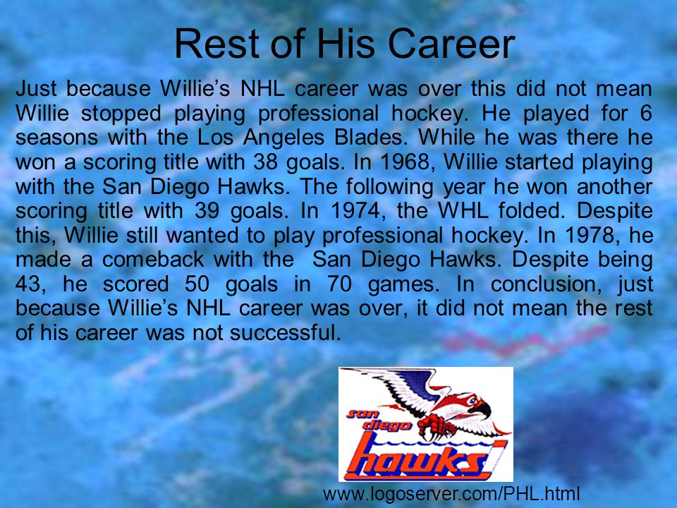 NHL Career Willie began his NHL career in 1958. Willie O' Ree was the first black player in the NHL. After he played his first game, not a single news