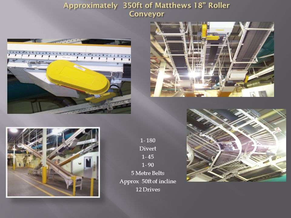 1- 180 Divert 1- 45 1- 90 5 Metre Belts Approx 50ft of incline 12 Drives