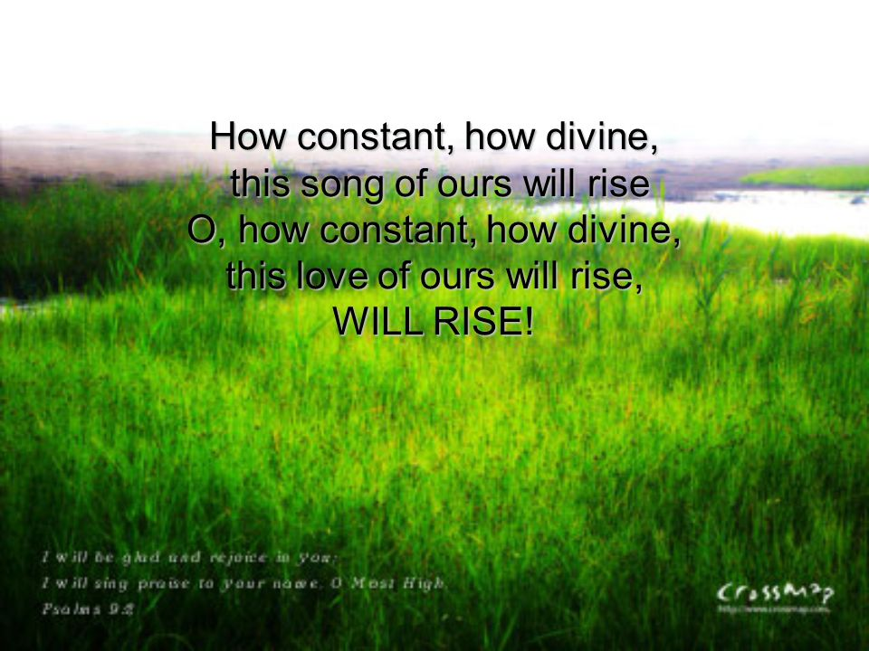How constant, how divine, this song of ours will rise O, how constant, how divine, this love of ours will rise, WILL RISE!