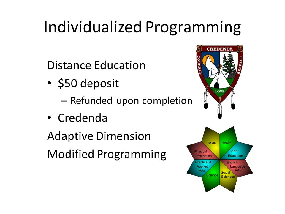 Individualized Programming Distance Education $50 deposit – Refunded upon completion Credenda Adaptive Dimension Modified Programming