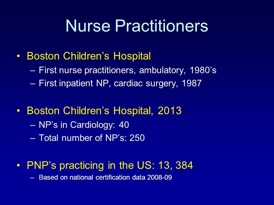 Nurse Practitioners Boston Children's Hospital –First nurse practitioners, ambulatory, 1980's –First inpatient NP, cardiac surgery, 1987 Boston Childr