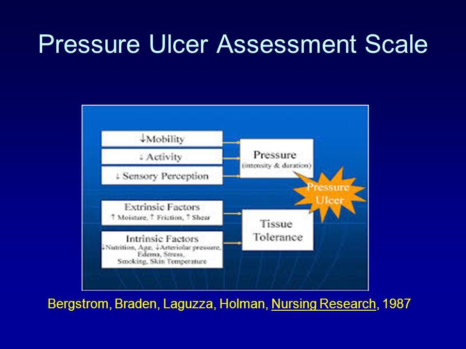 Pressure Ulcer Assessment Scale Bergstrom, Braden, Laguzza, Holman, Nursing Research, 1987