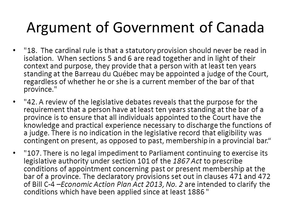 Argument of Government of Canada 18.