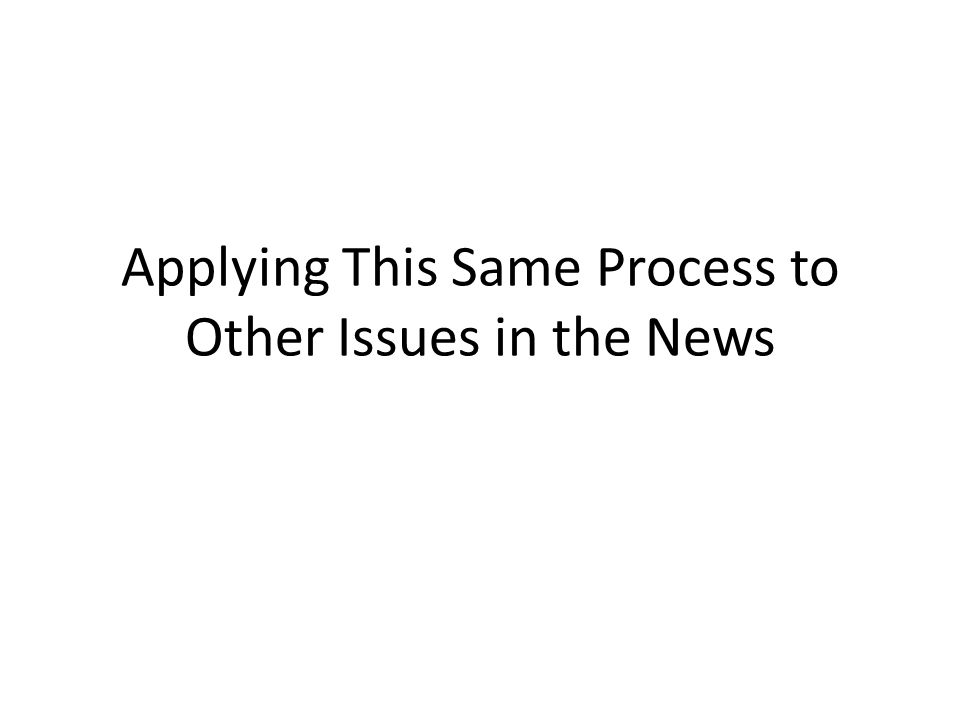 Applying This Same Process to Other Issues in the News