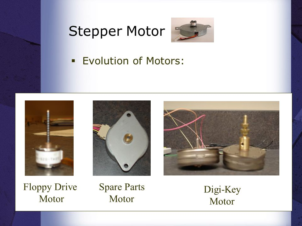 Stepper Motor  Evolution of Motors: Floppy Drive Motor Spare Parts Motor Digi-Key Motor