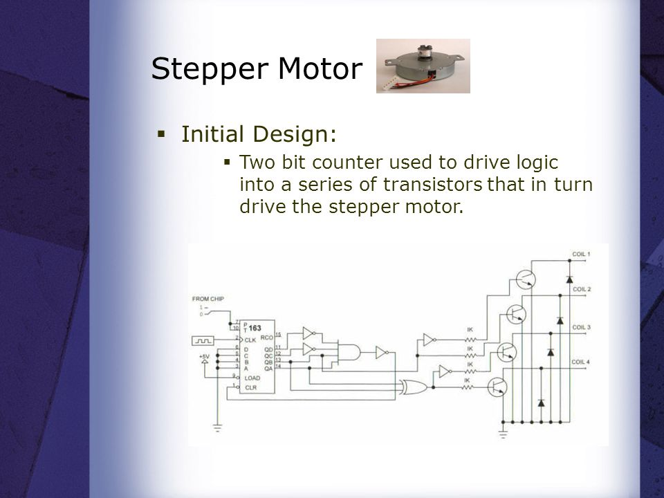 Stepper Motor  Initial Design:  Two bit counter used to drive logic into a series of transistors that in turn drive the stepper motor.