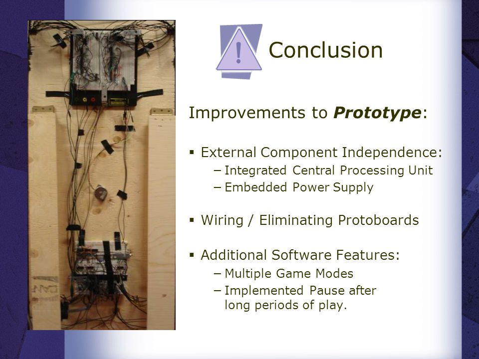  Improvements to Prototype:  External Component Independence: −Integrated Central Processing Unit −Embedded Power Supply  Wiring / Eliminating Protoboards  Additional Software Features: −Multiple Game Modes −Implemented Pause after long periods of play.