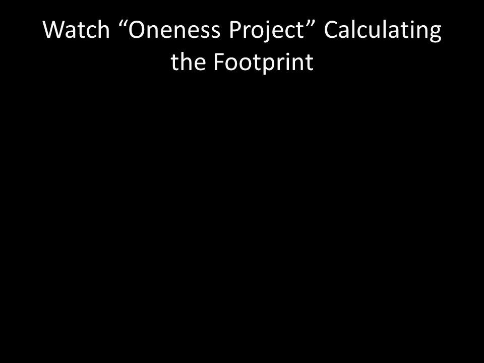 Watch Oneness Project Calculating the Footprint