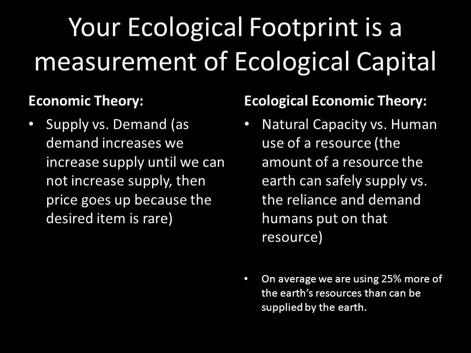 Your Ecological Footprint is a measurement of Ecological Capital Economic Theory: Supply vs.