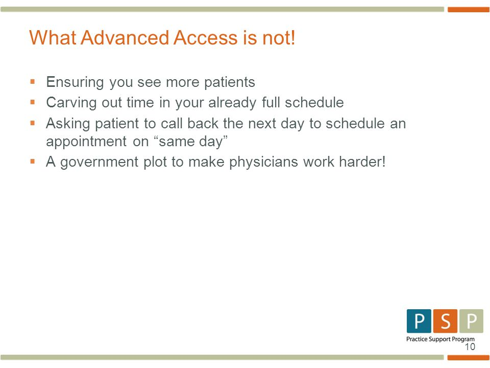 10  Ensuring you see more patients  Carving out time in your already full schedule  Asking patient to call back the next day to schedule an appointment on same day  A government plot to make physicians work harder.