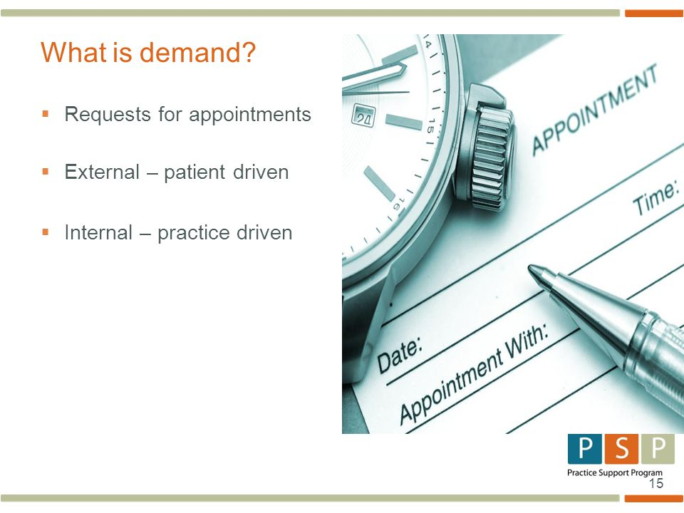 15  Requests for appointments  External – patient driven  Internal – practice driven What is demand