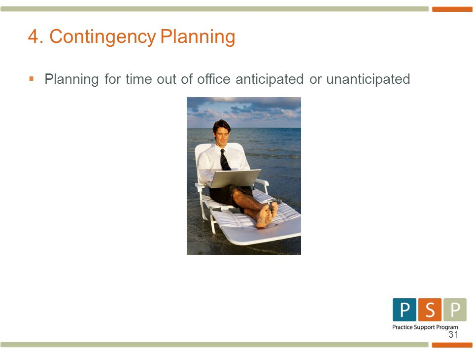 31 4. Contingency Planning  Planning for time out of office anticipated or unanticipated