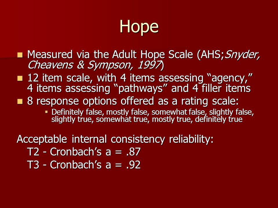 Hope Measured via the Adult Hope Scale (AHS;Snyder, Cheavens & Sympson, 1997) Measured via the Adult Hope Scale (AHS;Snyder, Cheavens & Sympson, 1997) 12 item scale, with 4 items assessing agency, 4 items assessing pathways and 4 filler items 12 item scale, with 4 items assessing agency, 4 items assessing pathways and 4 filler items 8 response options offered as a rating scale: 8 response options offered as a rating scale:  Definitely false, mostly false, somewhat false, slightly false, slightly true, somewhat true, mostly true, definitely true Acceptable internal consistency reliability: T2 - Cronbach's a =.87 T3 - Cronbach's a =.92