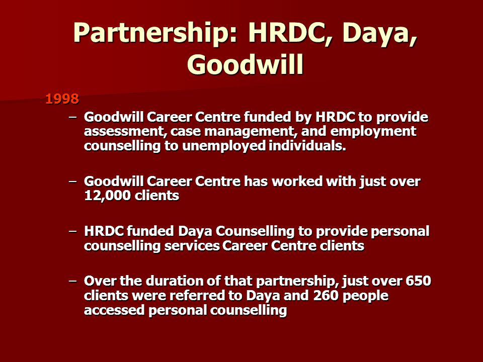 Partnership: HRDC, Daya, Goodwill 1998 –Goodwill Career Centre funded by HRDC to provide assessment, case management, and employment counselling to unemployed individuals.