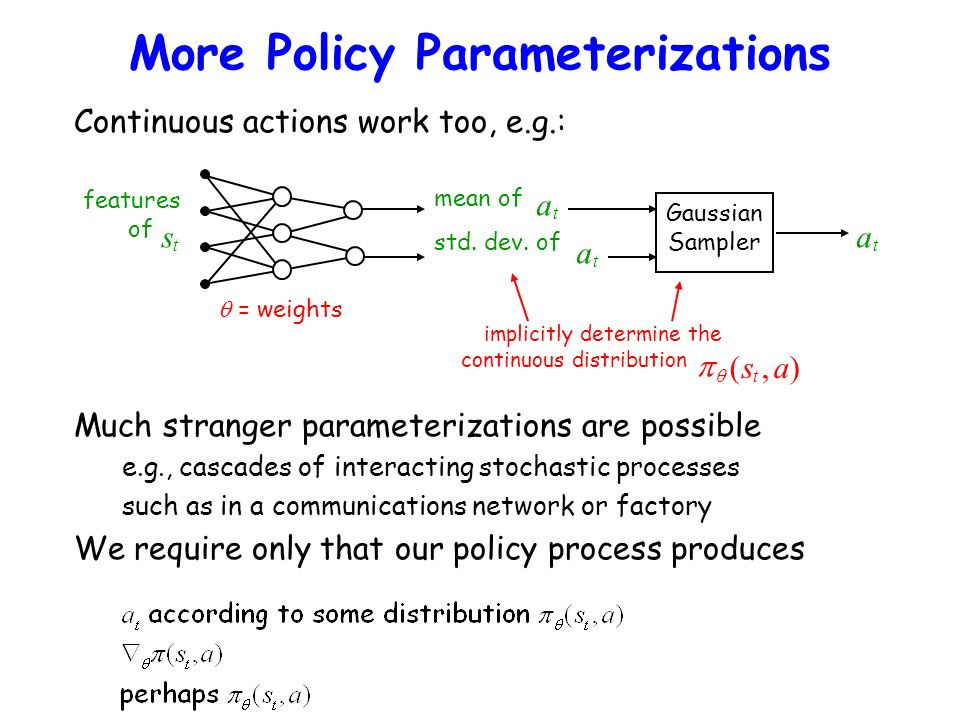 More Policy Parameterizations Continuous actions work too, e.g.: Gaussian Sampler features of  = weights implicitly determine the continuous distribu