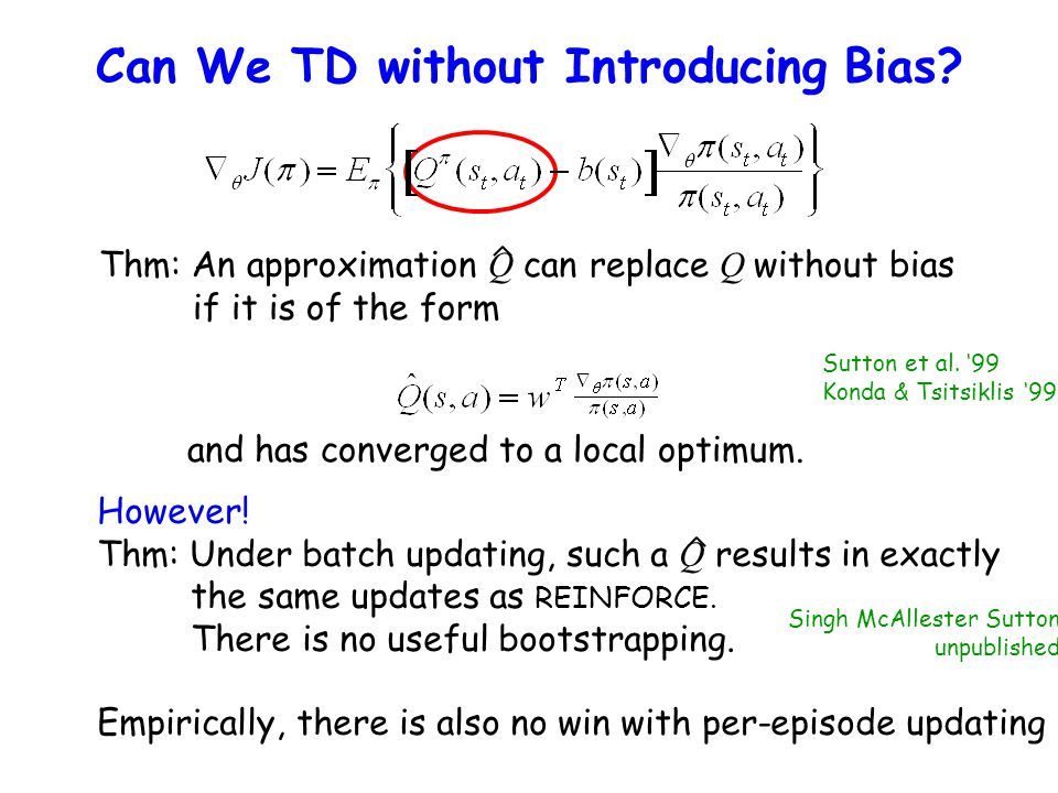 Can We TD without Introducing Bias? Thm: An approximation Q can replace Q without bias if it is of the form and has converged to a local optimum. Sutt