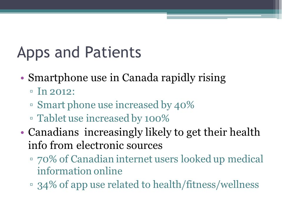 Apps and Patients Smartphone use in Canada rapidly rising ▫In 2012: ▫Smart phone use increased by 40% ▫Tablet use increased by 100% Canadians increasi