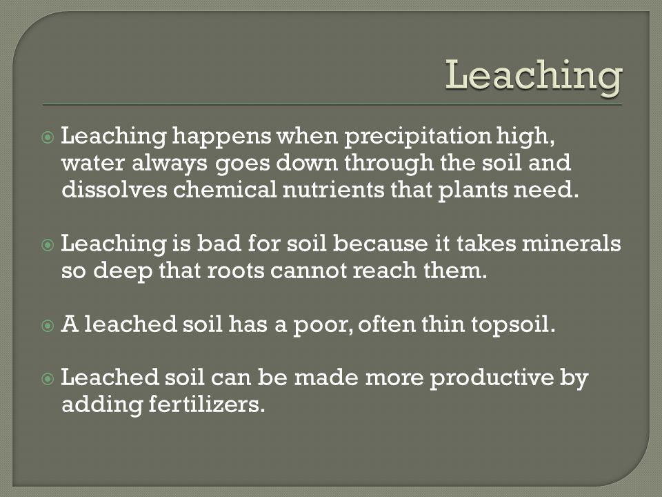  Leaching happens when precipitation high, water always goes down through the soil and dissolves chemical nutrients that plants need.
