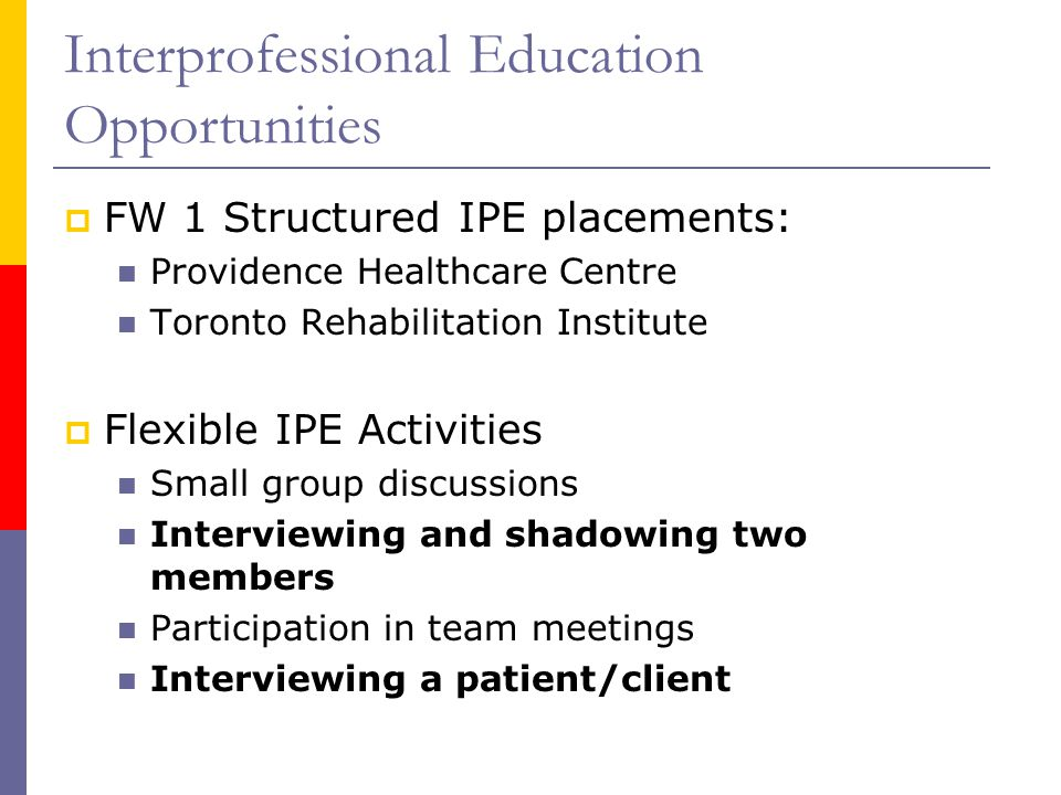 Interprofessional Education Opportunities  FW 1 Structured IPE placements: Providence Healthcare Centre Toronto Rehabilitation Institute  Flexible IPE Activities Small group discussions Interviewing and shadowing two members Participation in team meetings Interviewing a patient/client