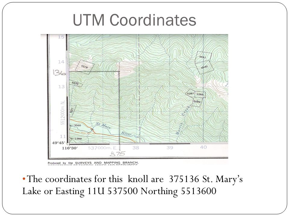 UTM Coordinates The coordinates for this knoll are 375136 St.