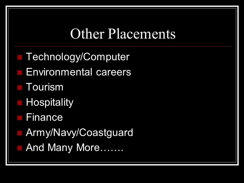 Other Placements Technology/Computer Environmental careers Tourism Hospitality Finance Army/Navy/Coastguard And Many More…….
