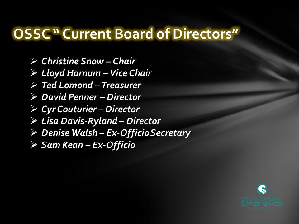  Christine Snow – Chair  Lloyd Harnum – Vice Chair  Ted Lomond – Treasurer  David Penner – Director  Cyr Couturier – Director  Lisa Davis-Ryland