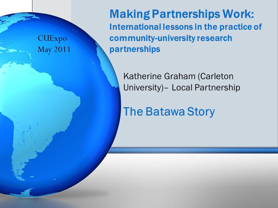 Making Partnerships Work: International lessons in the practice of community-university research partnerships Katherine Graham (Carleton University)– Local Partnership The Batawa Story CUExpo May 2011