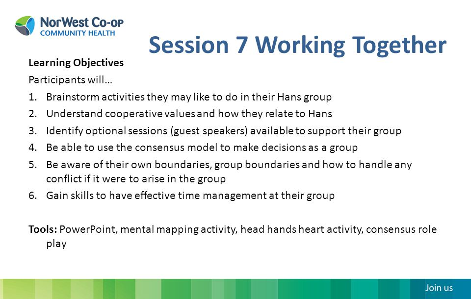 Session 7 Working Together Learning Objectives Participants will… 1.Brainstorm activities they may like to do in their Hans group 2.Understand cooperative values and how they relate to Hans 3.Identify optional sessions (guest speakers) available to support their group 4.Be able to use the consensus model to make decisions as a group 5.Be aware of their own boundaries, group boundaries and how to handle any conflict if it were to arise in the group 6.Gain skills to have effective time management at their group Tools: PowerPoint, mental mapping activity, head hands heart activity, consensus role play