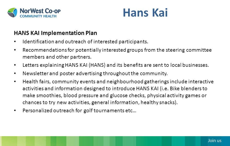 Hans Kai How it Works Groups meet at least once every month for 2 hours.