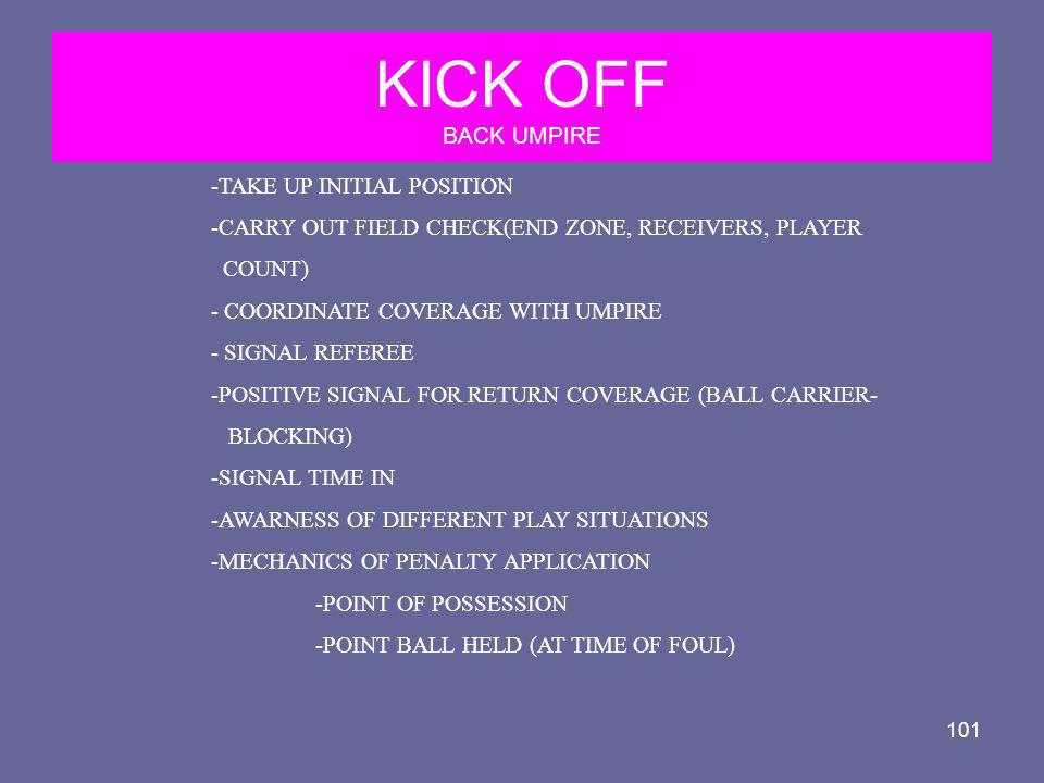 101 KICK OFF BACK UMPIRE -TAKE UP INITIAL POSITION -CARRY OUT FIELD CHECK(END ZONE, RECEIVERS, PLAYER COUNT) - COORDINATE COVERAGE WITH UMPIRE - SIGNA