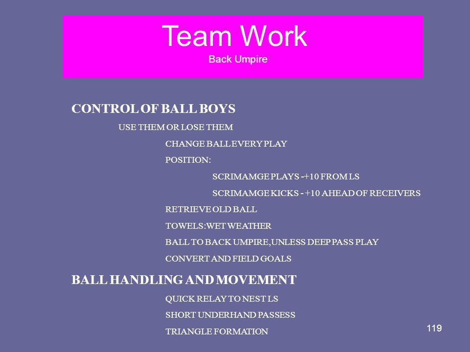 119 Team Work Back Umpire CONTROL OF BALL BOYS USE THEM OR LOSE THEM CHANGE BALL EVERY PLAY POSITION: SCRIMAMGE PLAYS -+10 FROM LS SCRIMAMGE KICKS - +