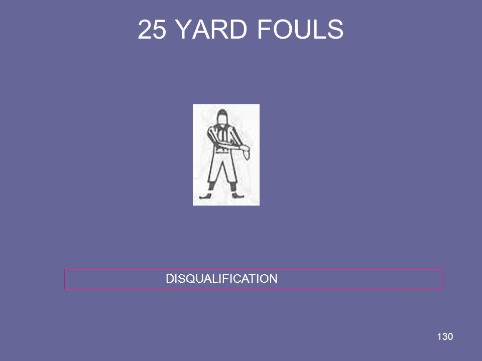 130 25 YARD FOULS DISQUALIFICATION