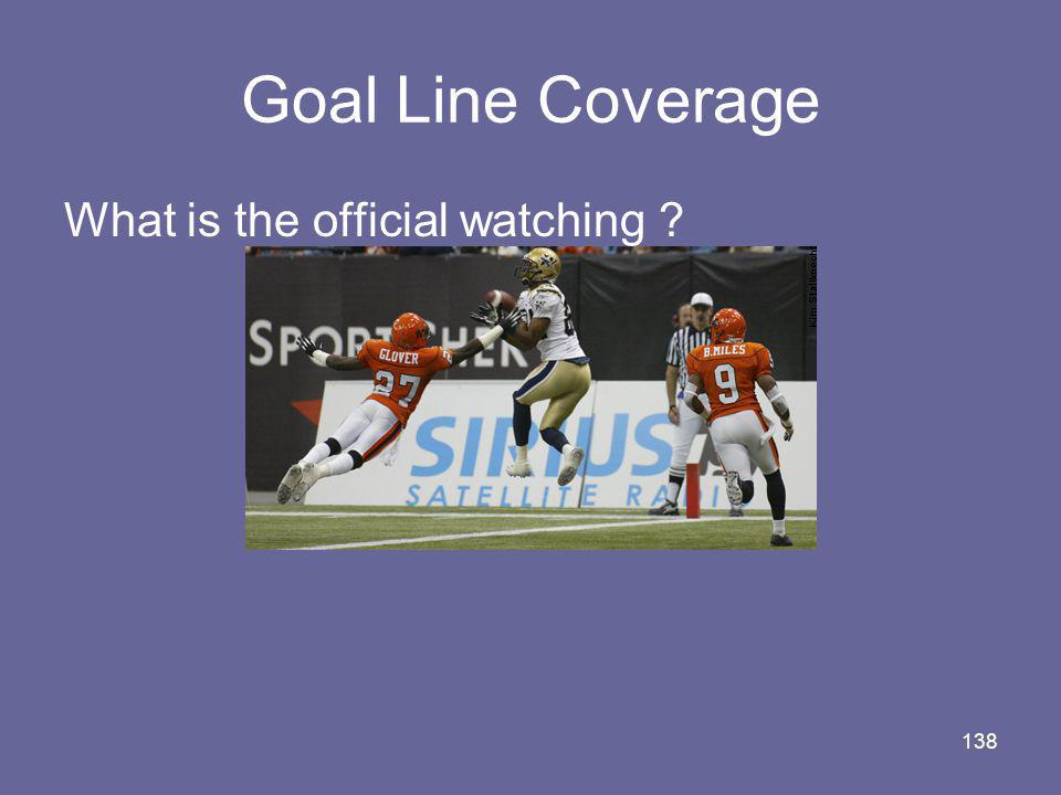 138 Goal Line Coverage What is the official watching ?