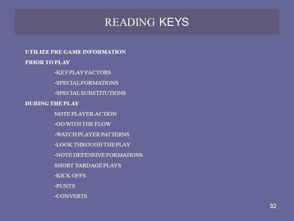 32 READING KEYS UTILIZE PRE GAME INFORMATION PRIOR TO PLAY -KEY PLAY FACTORS -SPECIAL FORMATIONS -SPECIAL SUBSTITUTIONS DURING THE PLAY NOTE PLAYER AC