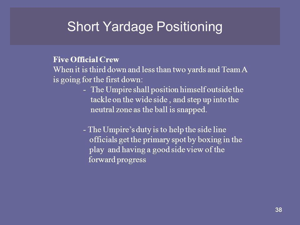 38 Short Yardage Positioning Five Official Crew When it is third down and less than two yards and Team A is going for the first down: -The Umpire shal