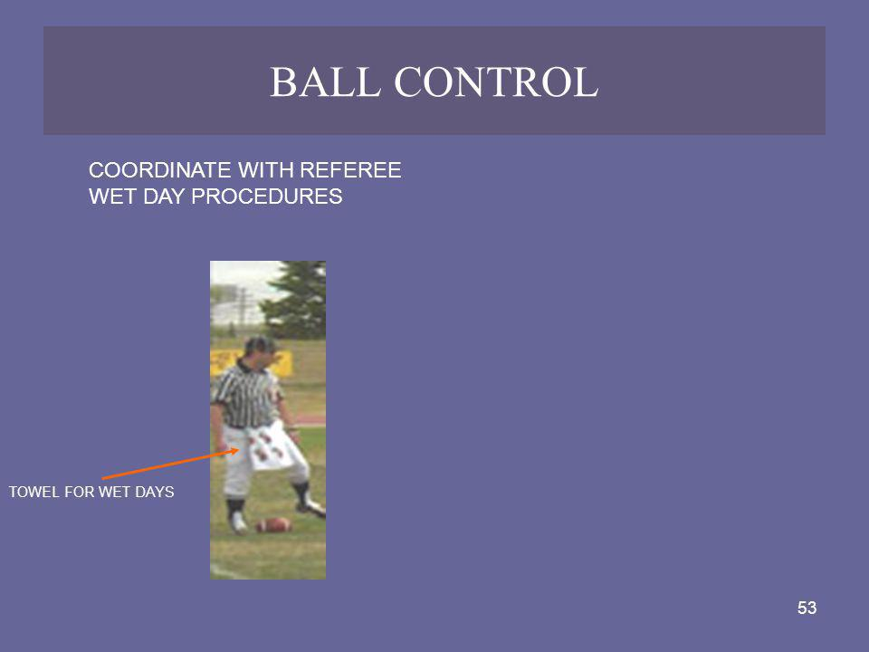 53 BALL CONTROL COORDINATE WITH REFEREE WET DAY PROCEDURES TOWEL FOR WET DAYS