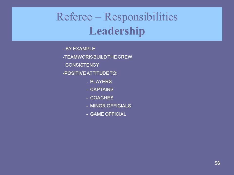 56 Referee – Responsibilities Leadership - BY EXAMPLE -TEAMWORK-BUILD THE CREW CONSISTENCY -POSITIVE ATTITUDE TO: - PLAYERS - CAPTAINS - COACHES - MIN