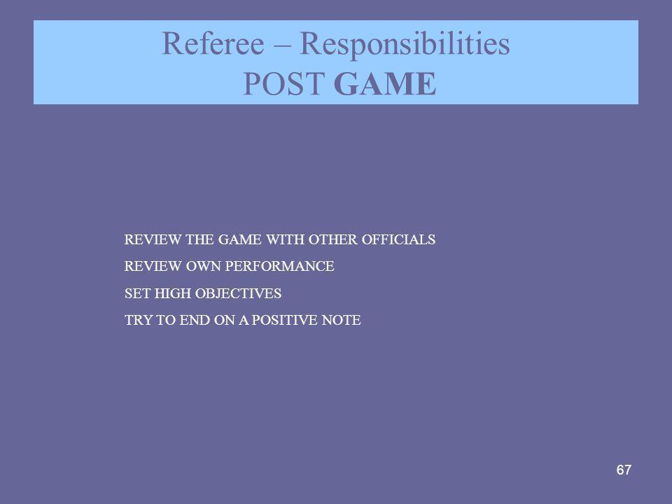 67 Referee – Responsibilities POST GAME REVIEW THE GAME WITH OTHER OFFICIALS REVIEW OWN PERFORMANCE SET HIGH OBJECTIVES TRY TO END ON A POSITIVE NOTE