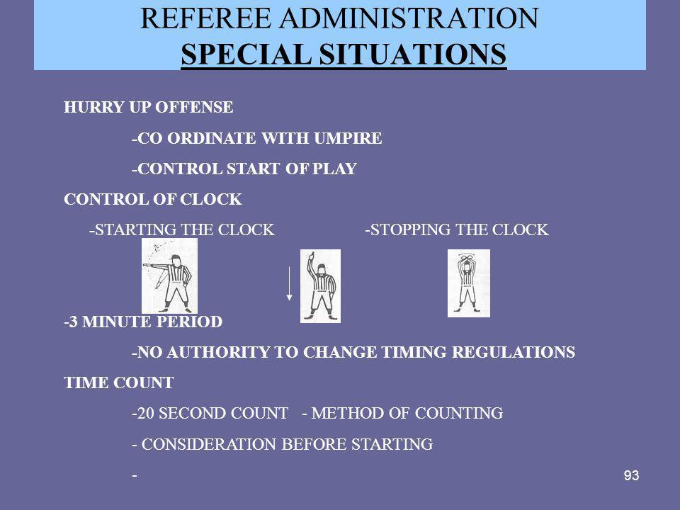 93 REFEREE ADMINISTRATION SPECIAL SITUATIONS HURRY UP OFFENSE -CO ORDINATE WITH UMPIRE -CONTROL START OF PLAY CONTROL OF CLOCK -STARTING THE CLOCK -ST