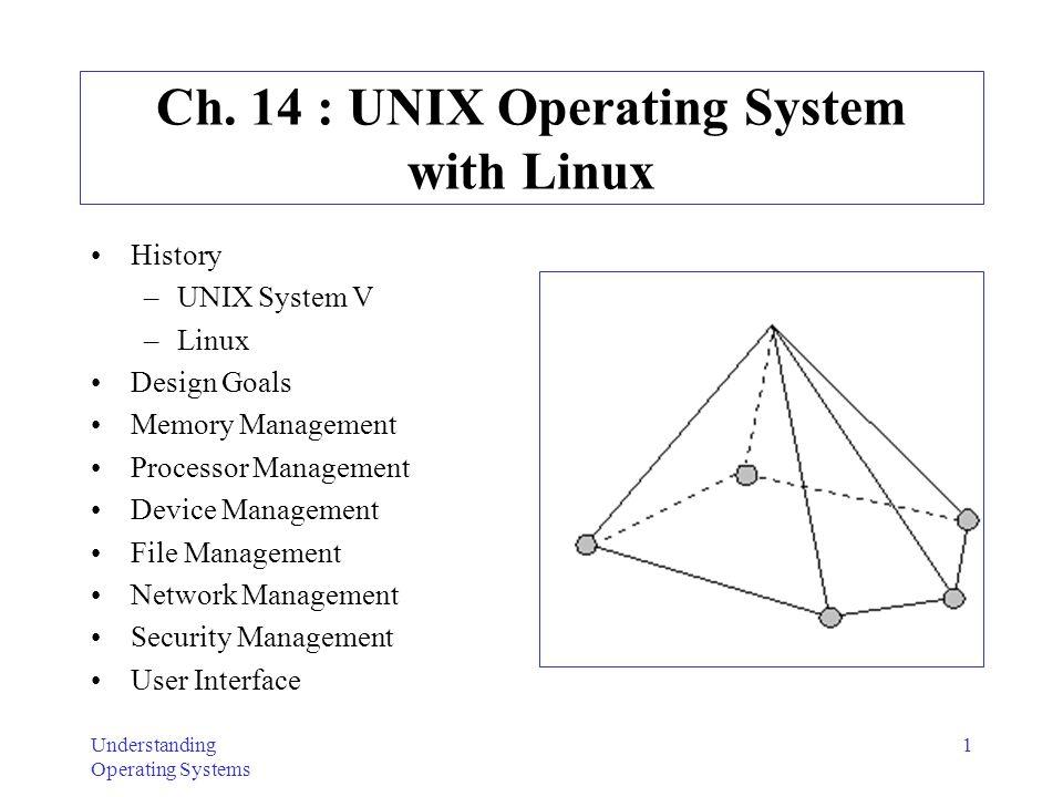 Understanding Operating Systems 1 Ch. 14 : UNIX Operating System with Linux History –UNIX System V –Linux Design Goals Memory Management Processor Man