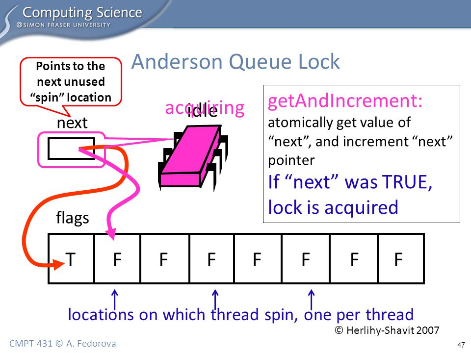 "47 CMPT 431 © A. Fedorova Anderson Queue Lock flags next TFFFFFFF idle locations on which thread spin, one per thread Points to the next unused ""spin"""
