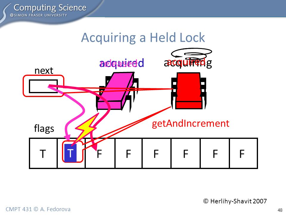 48 CMPT 431 © A. Fedorova Acquiring a Held Lock flags next TFFFFFFF acquired acquiring getAndIncrement T released acquired © Herlihy-Shavit 2007