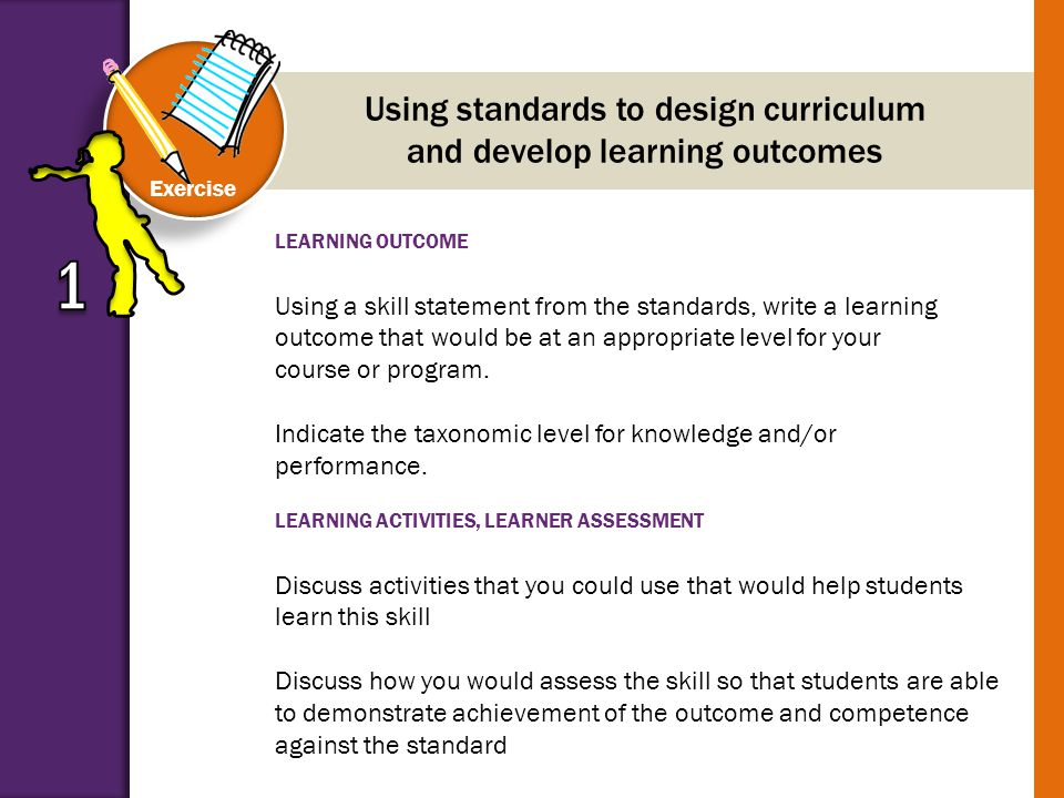 LEARNING OUTCOME Using a skill statement from the standards, write a learning outcome that would be at an appropriate level for your course or program