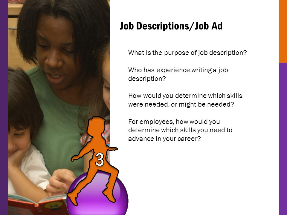 Job Descriptions/Job Ad What is the purpose of job description? Who has experience writing a job description? How would you determine which skills wer