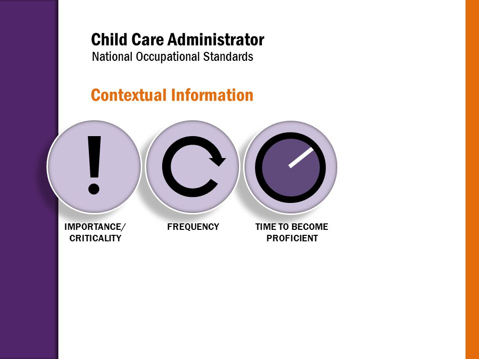 Child Care Administrator National Occupational Standards Contextual Information IMPORTANCE/ CRITICALITY FREQUENCYTIME TO BECOME PROFICIENT