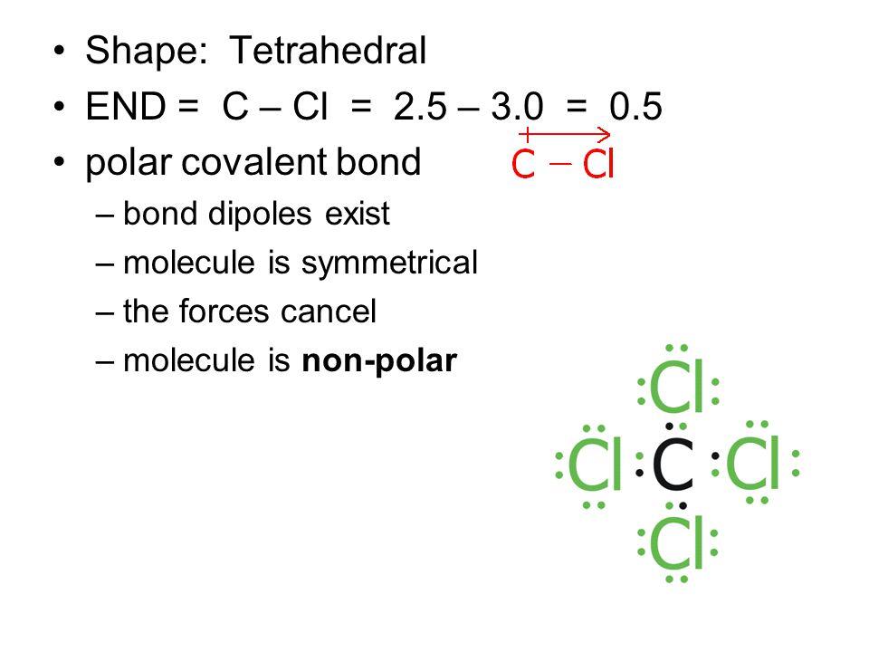 Shape: Tetrahedral END = C – Cl = 2.5 – 3.0 = 0.5 polar covalent bond –bond dipoles exist –molecule is symmetrical –the forces cancel –molecule is non-polar