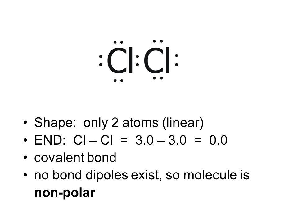 Shape: only 2 atoms (linear) END: Cl – Cl = 3.0 – 3.0 = 0.0 covalent bond no bond dipoles exist, so molecule is non-polar