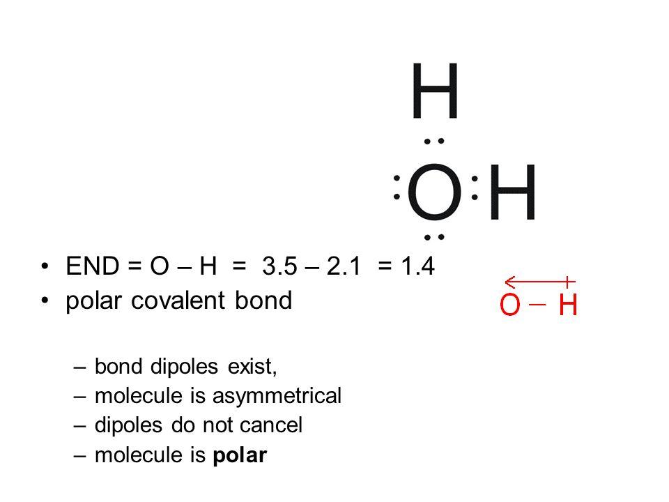 END = O – H = 3.5 – 2.1 = 1.4 polar covalent bond –bond dipoles exist, –molecule is asymmetrical –dipoles do not cancel –molecule is polar