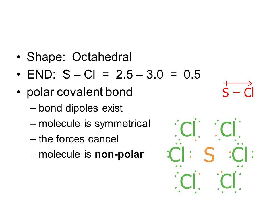 Shape: Octahedral END: S – Cl = 2.5 – 3.0 = 0.5 polar covalent bond –bond dipoles exist –molecule is symmetrical –the forces cancel –molecule is non-polar